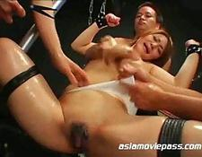 Busty oriental abused by a group of guys