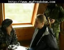 Abused bdsm threesome with soldiers