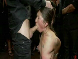 woman tied from the floor gets humili.