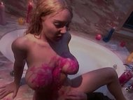 beautiful waxed blondie gets drilled in bath
