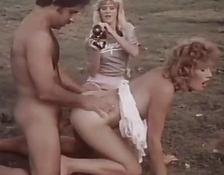 Classic orgy sex tape with attractive chick