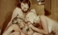 Vintage porn with two blonde babes swallowing and getting banged