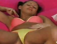 lady shows her clit