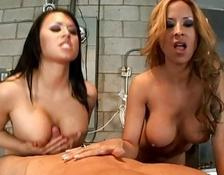 Brunette and yellow-haired girls with monstrous boobies swallowing large rod