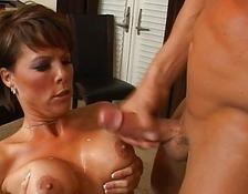 Horny brunette milf with enormous boobs getting drilled hard and gets cumshot