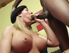 Interracial creampie scene with a busty blondie