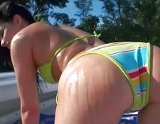 Bikini young picked up on boat and boned