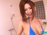 Busty oriental girl In Tiny Bikini Rubbing man Body And schlong With Her boobs In The Bathroo by cocounutskins