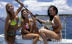 three fine hotties tryout sandboarding and frisky fishing