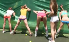 charming amateur student skanks are having a hazing session at the tennis court