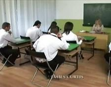 Fantastic bisexual group fuck in the classroom