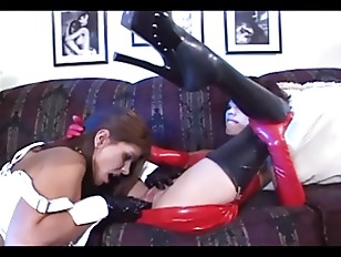 Bisexual babes in latex gloves and fi.