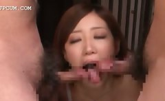 chinese girl in lingerie sucking 2 dicks on knees in some