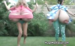 blondy skank and brunette chick play