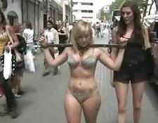 yellow-haired ugly chick public bondage sex