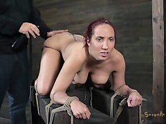 lady throat drilled while teid to a sybian