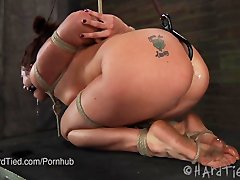 Tall Cici Rhodes in Strict Hogtie, then Made to sperm with Hook in booty