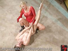 Pathetic dude Dominated by a blondy