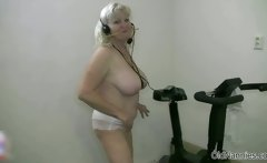 Horny yellow-haired old lady enjoys dancing sweet