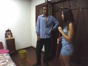 hispanic young maid poked in hotel room.