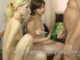 mature guy Threesome with pretty Brunette girlfriend and her blonde college Friend by lambodarchambodar