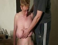 dirty old slaves spanking and blowjob