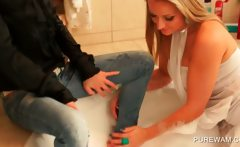 Lesbian hot duo getting wet and messy in the bathtub