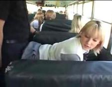 blonde School broad and chinese man in The Bus
