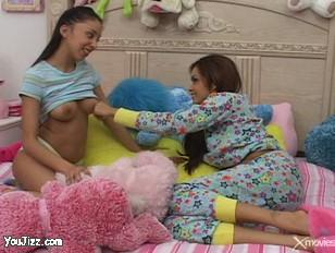 teen slumber party turns horny and di.