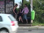 CRAZY threesome at a BUS STOP part one