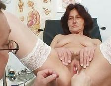 Hairy twat granny visits pervy woman doctor