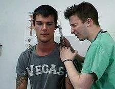 Handsome tattooed hunk gets molested by dirty gay doctor