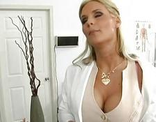 Horny giant titted blondie skank sexed by a slutty doctor