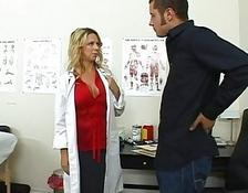 Amazing busty blondy doctor examine a massive lover at the hospital