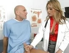 Lusty yellow-haired doctor jerks off her patients enormous bone3r