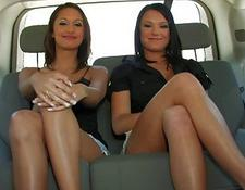 3 amazing lesbian hoes chatting and flashing tits in the car