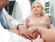 thin hirsute old lady lady doctor treatment