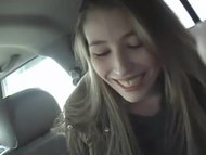 sweet amateur broad gives blowjob in a car