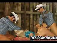 Horny 3d cartoon cowgirl takes on 2 guys at the barn