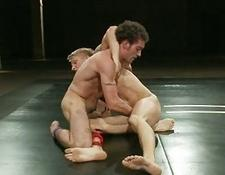 Experienced gay men wrestling for domination