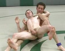 Naked gay wrestlers in hot domination game