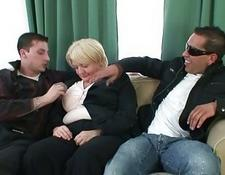 2 dudes bang totally drunk old lady