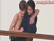 Celebrity young couple justin bieber and selena gomez kissing on yacht