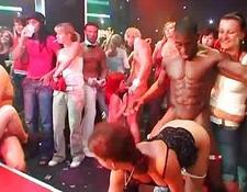 Drunk club young bitches in nasty CFNM group sex action