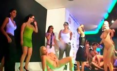 Drunk party babes dance and strip at a hardcore orgy