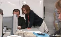 pretty Japanese employee gets seduced