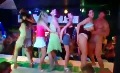 CFNM lusty babes dancing with strippers on stage