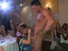 A bride touches pecker at her bachlorette party