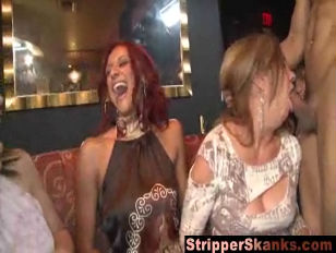 Horny bitches swallowing stripper dong