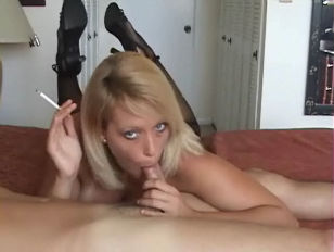 yellow-haired Milf Smokes and gives a hot Bl.